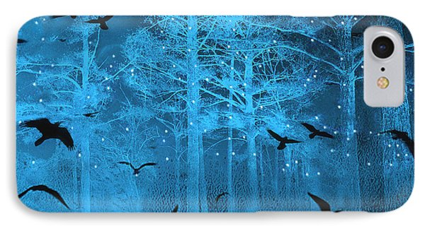 Surreal Gothic Fantasy Blue Starry Woodlands Forest With Flying Ravens IPhone Case