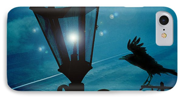 Surreal Gothic Fantasy Dark Night Street Lantern With Flying Raven  IPhone Case by Kathy Fornal