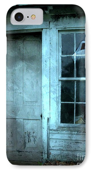 Surreal Gothic Grim Reaper In Window - Spooky Haunted House Reflection In Window IPhone Case