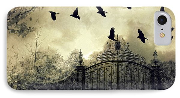 Surreal Gothic Spooky Haunting Gate With Ravens IPhone Case by Kathy Fornal