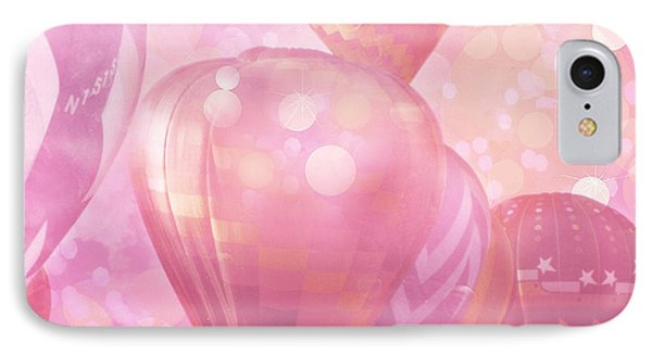 Surreal Hot Air Balloons Fantasy Fairytale Print - Hot Pink Hot Air Balloons Festival Art  IPhone Case by Kathy Fornal