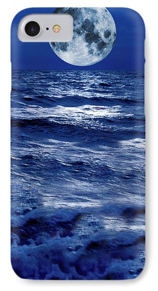 Surreal Moon Rise Over Stormy Waters IPhone Case by Christian Lagereek