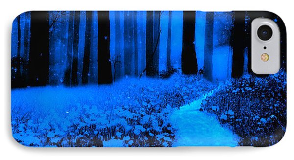 Surreal Moonlight Blue Haunting Dark Fantasy Nature Path Woodlands IPhone Case by Kathy Fornal