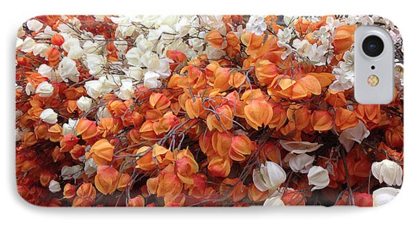Surreal Orange And White Fall Leaves Branches And  Flowers - Colors Of Autumn Fall Leaves  IPhone Case by Kathy Fornal