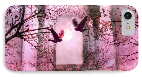 Surreal Pink Fantasy Forest Trees Nature With Flying Ravens IPhone Case