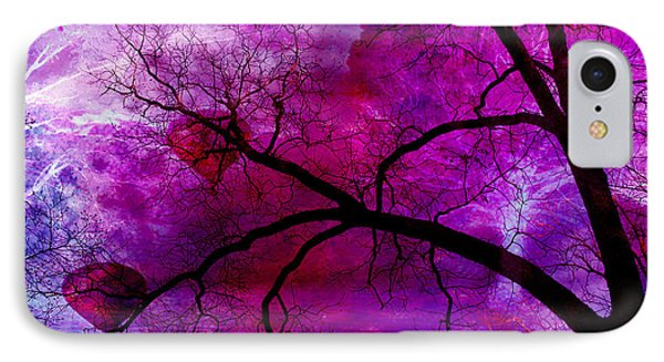 Surreal Abstract Fantasy Purple Pink Trees Hot Air Balloons IPhone Case by Kathy Fornal