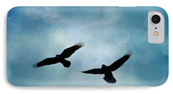 Surreal Ravens Crows Flying Blue Sky Stars IPhone 7 Case by Kathy Fornal
