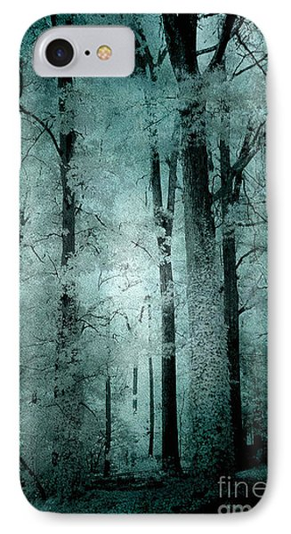 Surreal Trees Fantasy Dark Eerie Haunting Teal Green Woodlands Forest - Lost In The Woods IPhone Case by Kathy Fornal