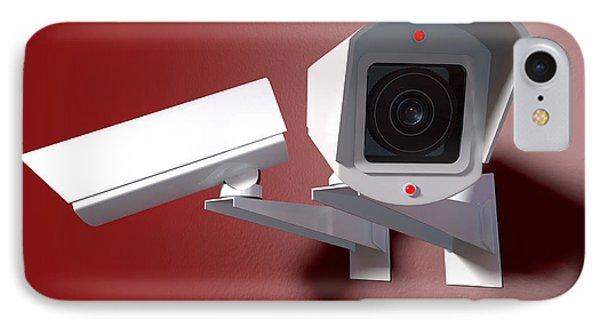 Surveillance Cameras On Red IPhone Case by Allan Swart