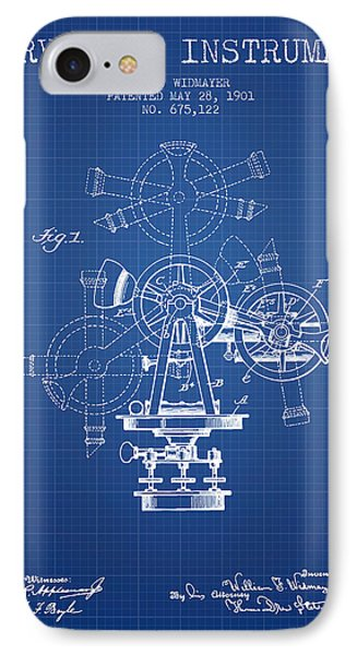 Surveying Instrument Patent From 1901 - Blueprint IPhone Case by Aged Pixel