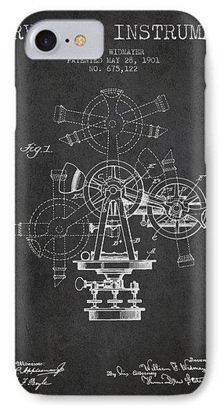 Surveying Instrument Patent From 1901 - Charcoal IPhone Case by Aged Pixel