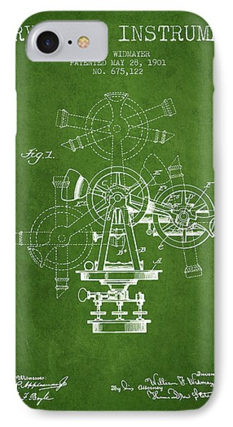 Surveying Instrument Patent From 1901 - Green IPhone Case by Aged Pixel