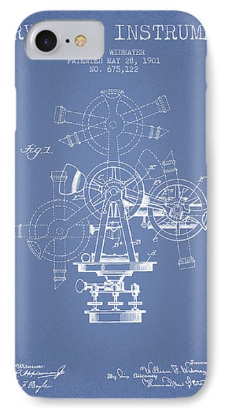 Surveying Instrument Patent From 1901 - Light Blue IPhone Case by Aged Pixel