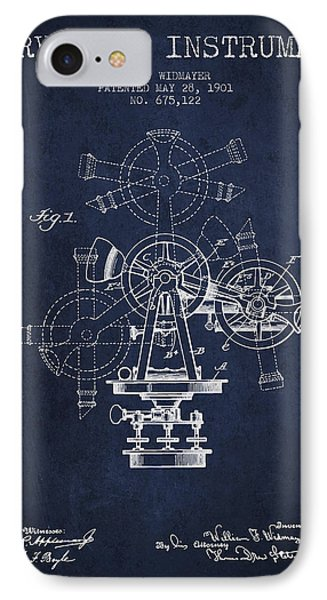 Surveying Instrument Patent From 1901 - Navy Blue IPhone Case by Aged Pixel