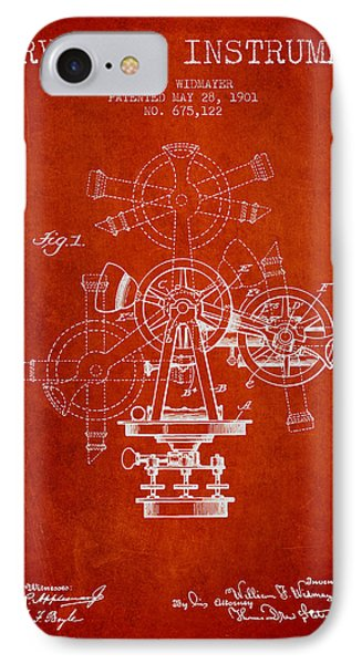 Surveying Instrument Patent From 1901 - Red IPhone Case by Aged Pixel