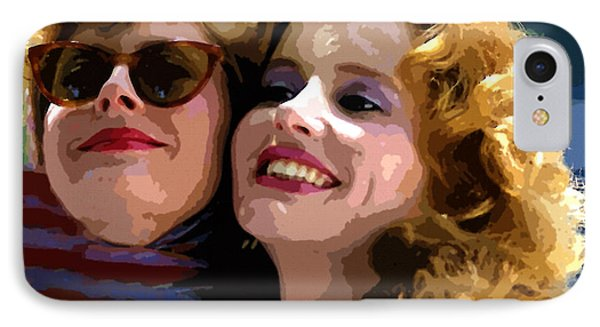 Susan Sarandon And Geena Davies Alias Thelma And Louis - Watercolor IPhone Case by Doc Braham