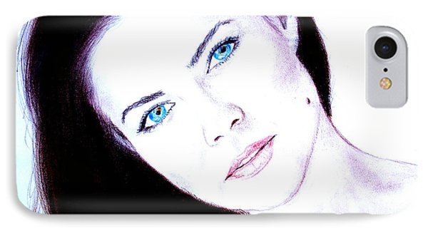 Susan Ward Blue Eyed Beauty With A Mole II Phone Case by Jim Fitzpatrick