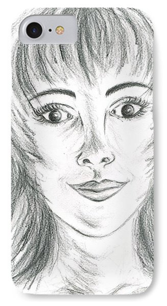 IPhone Case featuring the drawing Portrait Stunning by Teresa White