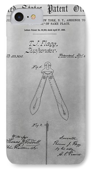 Suspender Patent Drawing IPhone Case by Dan Sproul