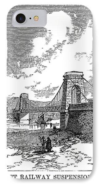 Suspension Bridge, 1830 IPhone Case by Granger