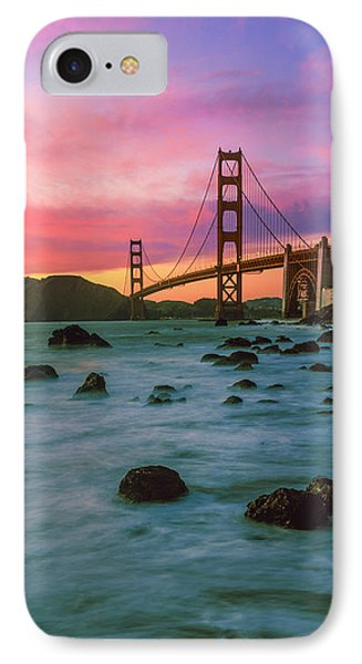 Suspension Bridge Across A Bay At Dusk IPhone Case by Panoramic Images