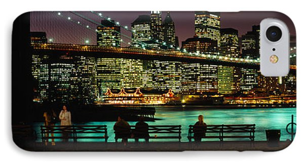 Suspension Bridge Lit Up At Dusk IPhone Case by Panoramic Images