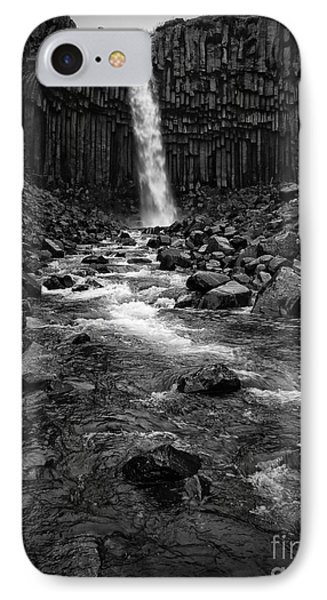 Svartifoss Waterfall In Black And White IPhone Case by IPics Photography