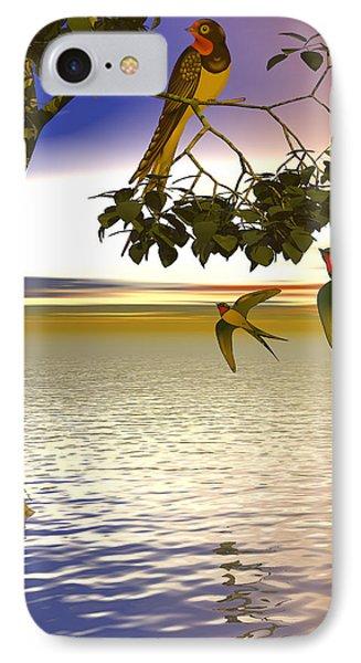 IPhone Case featuring the digital art Swallows At Sunset by Sandra Bauser Digital Art