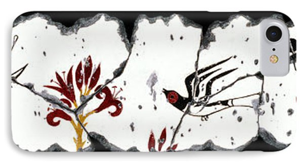 Swallows With Lilies No. 5 Phone Case by Steve Bogdanoff