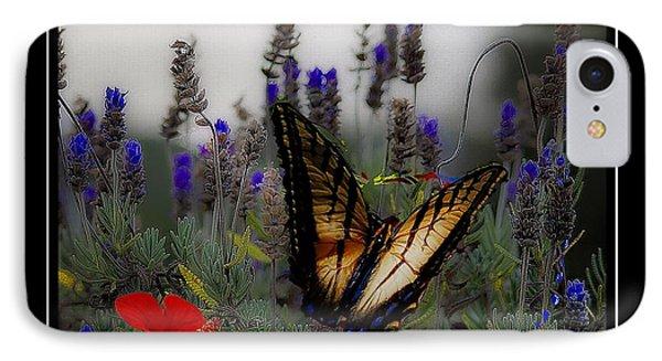 Swallowtail Among Blue Flowers IPhone Case by John  Kolenberg