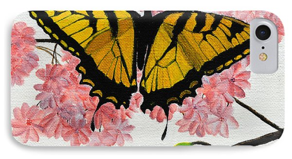 Swallowtail In Cherry Blossoms IPhone Case by Jane Axman