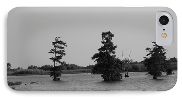 IPhone Case featuring the photograph Swamp Tall Cypress Trees Black And White by Joseph Baril