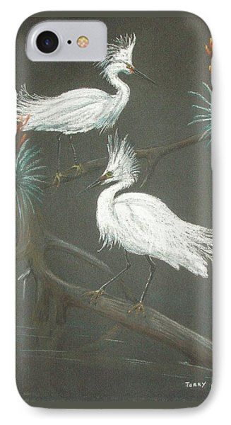 IPhone Case featuring the pastel Swampbirds by Terry Frederick
