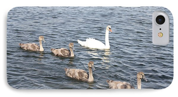IPhone Case featuring the photograph Swan And His Ducklings by John Telfer