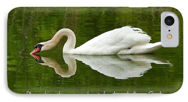 Swan Heart Bible Verse Greeting Card Original Fine Art Photograph Print As A Gift IPhone Case