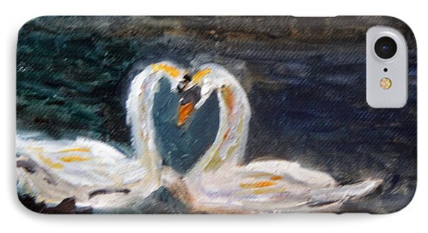 IPhone Case featuring the painting Swan Lovers by Michael Helfen