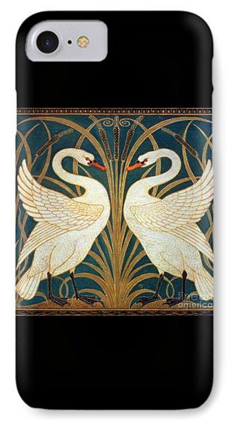 Swan Rush And Iris IPhone Case by Walter Crane