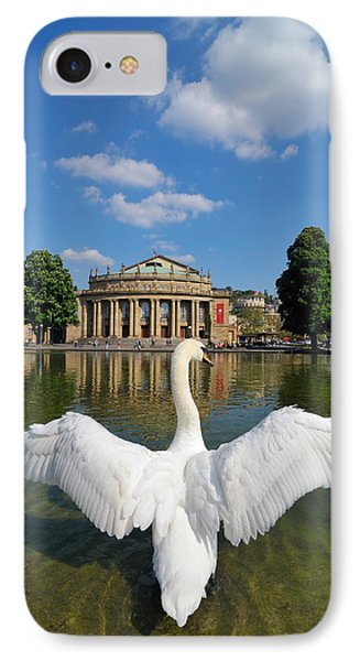 Swan Spreads Wings In Front Of State Theatre Stuttgart Germany Phone Case by Matthias Hauser