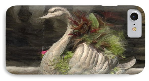 Swan With Beautiful Flowers IPhone Case