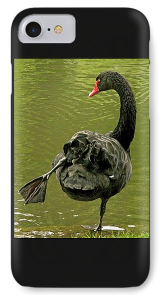 Swan Yoga IPhone Case by Rona Black