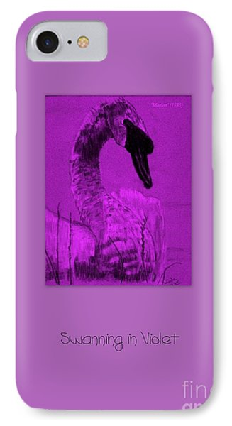 Swanning In Violet IPhone Case by Linda Prewer
