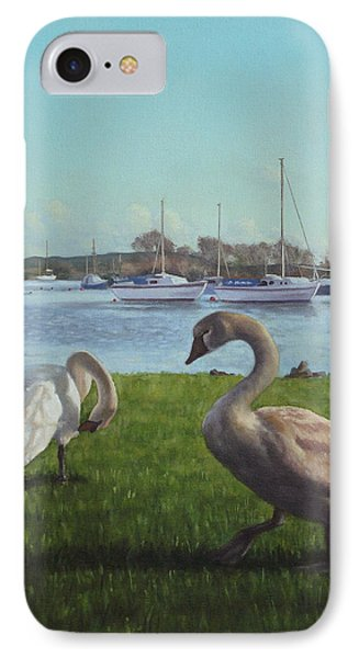 swans at Christchurch harbour Phone Case by Martin Davey