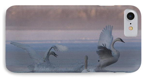 IPhone Case featuring the photograph Swans Chasing by Patti Deters