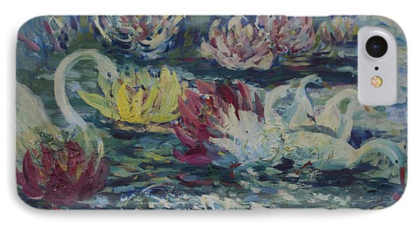 IPhone Case featuring the painting Swans In Lilies  by Avonelle Kelsey