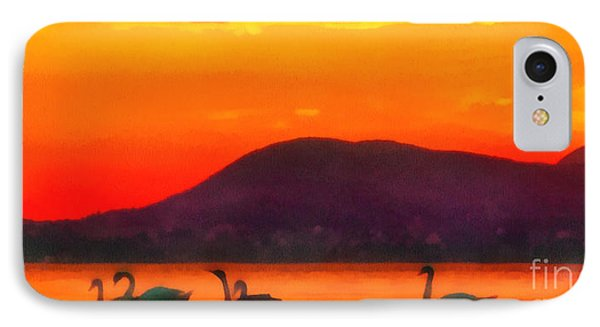 Swans In The Sunset IPhone Case by Odon Czintos