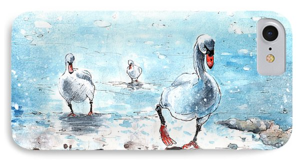 Swans On The March IPhone Case by Miki De Goodaboom