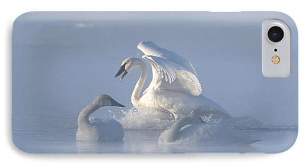IPhone Case featuring the photograph Trumpeter Swans - Three's Company by Patti Deters