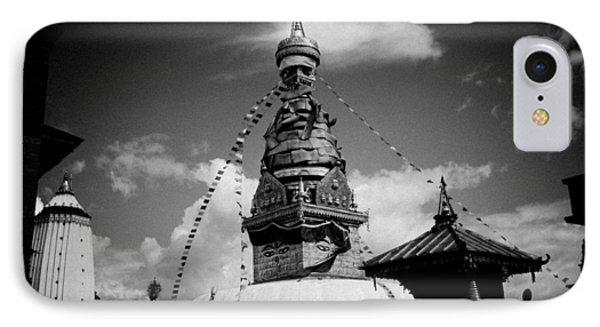 Swayambhunath Temple Black And White Phone Case by Raimond Klavins