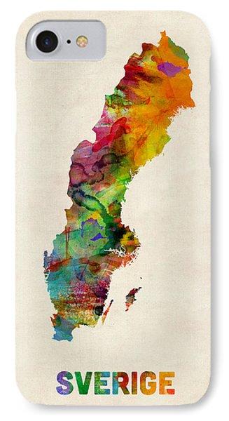 Sweden Watercolor Map IPhone Case