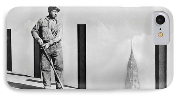 Sweeping The Empire State Bldg IPhone Case by Underwood Archives
